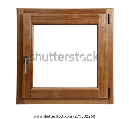 wooden window closed on a white background