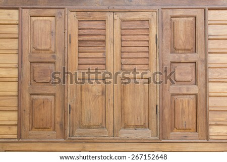 Wooden window for thai house style - stock photo