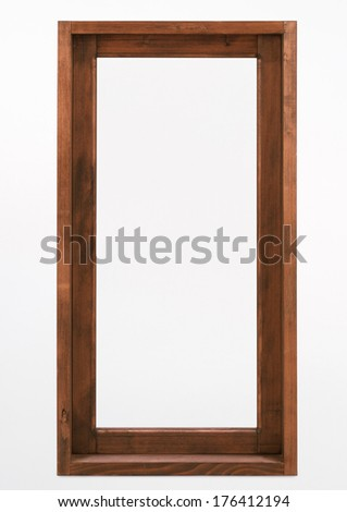 Wooden window frame isolated on white - stock photo