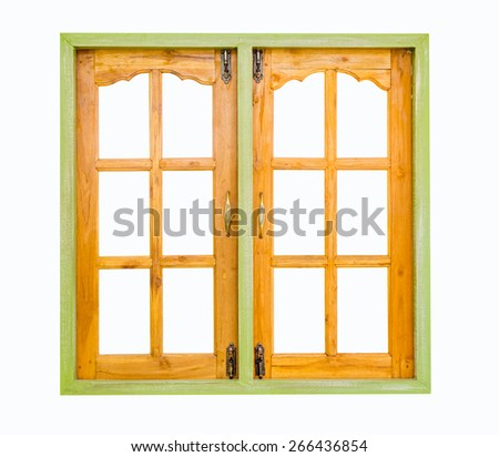 Wooden window isolated on white background. - stock photo