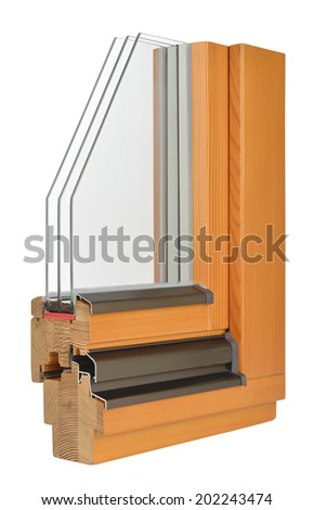 Wooden window profile with triple glazing - stock photo