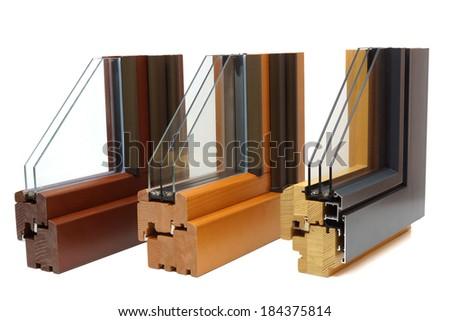 wooden window profiles - stock photo