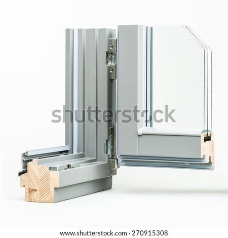 wooden window with aluminium wrap sample, isolated on white background - stock photo