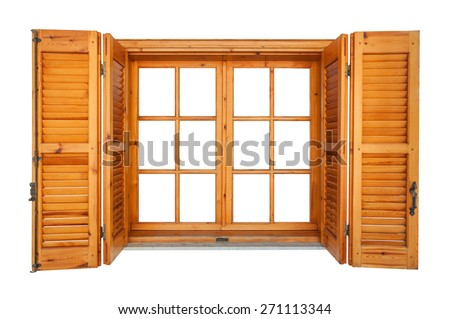 Wooden window with shutters isolated on white exterior side - stock photo