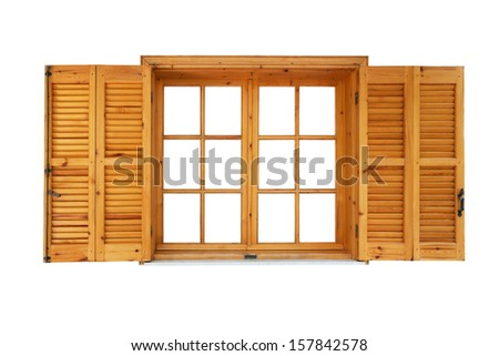 Wooden window with shutters opened isolated exterior side - stock photo