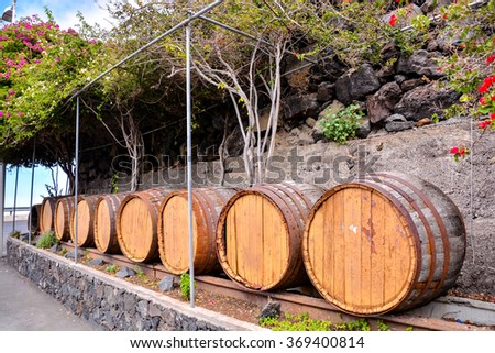 Wooden Wine Barrel - stock photo