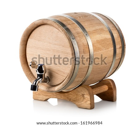Wooden wine barrel isolated on a white background - stock photo
