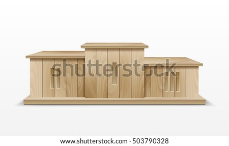 Wooden Winners Podium. Illustration of an award winner podium, made of wood, for business success and wealth podium