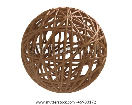 Wooden wired sphere - stock photo