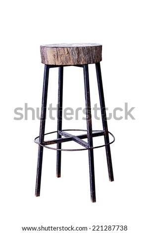Wooden with steel legs simplistic bar chair, work with path.