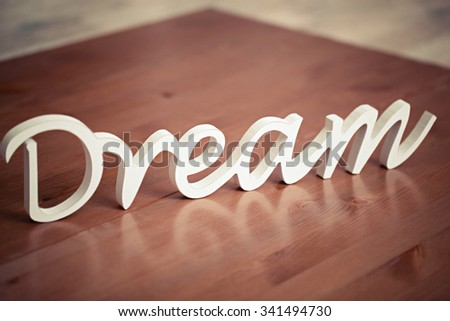 wooden word dream for decoration
