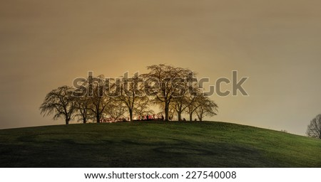 Woodland cemetary or Skogskyrkogarden in Stockholm, Sweden - stock photo