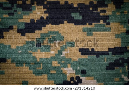 Woodland digital camouflage rip-stop fabric texture background  - stock photo