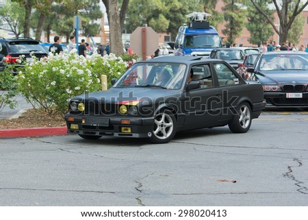 Woodland Hills, CA, USA - July 19, 2015:  Vintage BMW car on display at the Supercar Sunday car event.