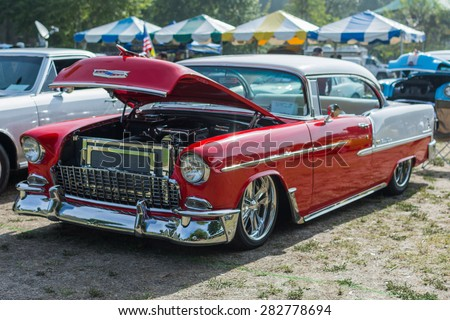 Woodland Hills, CA, USA - May 30, 2015: Chevrolet Bel-Air car on display during 12th Annual LAPD Car Show & Safety Fair.