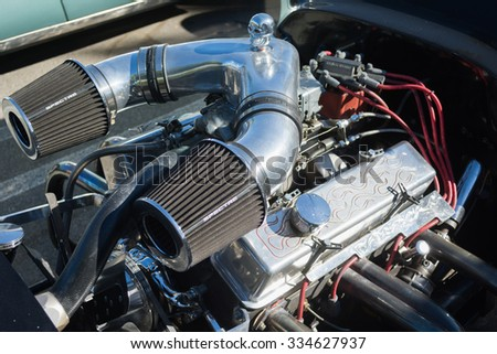 Woodland Hills, USA - November 1, 2015: Hot Rod engine on display on display at the Supercar Sunday event.