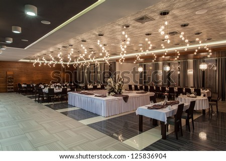 Woodland hotel - Elegant restaurant in a hotel - stock photo