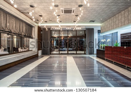 Woodland hotel - entrance and a reception - stock photo