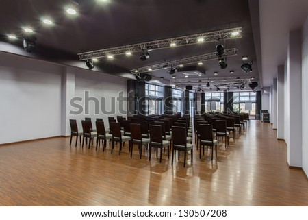 Woodland hotel - Interior of modern auditorium hall - stock photo