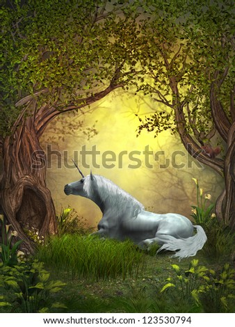 Woodland Unicorn - A squirrel watches a white unicorn resting under branches of forest trees. - stock photo