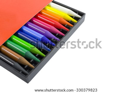 Woodless Colored Pencils in the Box Isolated on White Background