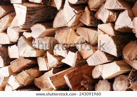 Woodpile from dry oak logs. Selective focus. - stock photo