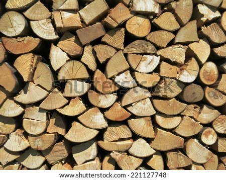 Woodpile kindling firewood wood winter lumber log background. - stock photo