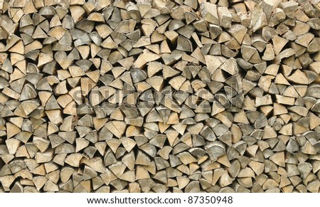 Woodpile of the pinned fire wood. Background
