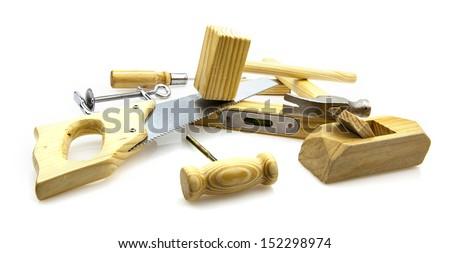 Woodwork Tools on white background - stock photo