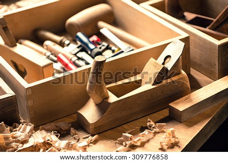 Woodworking and carpentry tools in workshop. - stock photo