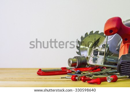 Woodworking bench tools - stock photo