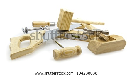 woodworking hand tools on white background - stock photo