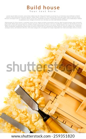 Woodworking. House construction. Joiner's works. The wooden house, chisel, plane and shaving on white background. - stock photo