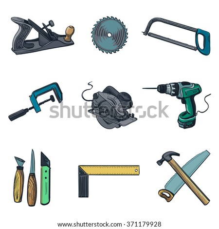 Woodworking industry and Woodworking tools icons - icon set. Craft Woodwork Screwdriver Table Hamme, Carpenter. - stock photo