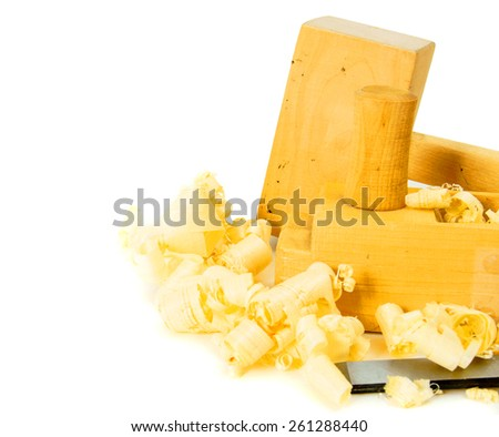 Woodworking. Joiner's works. Joiner's tools (plane, mallet, chisel) on a white background. - stock photo
