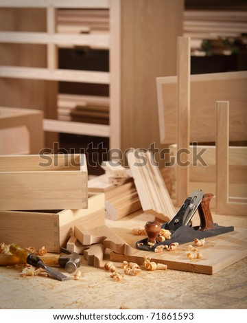 Woodworking tools in cabinet makers shop - stock photo