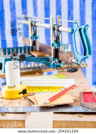Woodworking tools in workshop - Home improvement - stock photo
