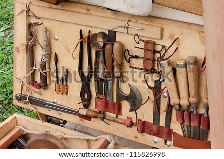 woodworking tools of antique joinery - old equipment for wood craft manufacture - stock photo