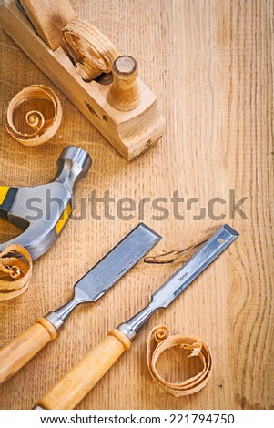 woodworking tools plane chisels and humer - stock photo