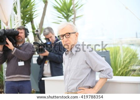 Woody Allen attends the 'Cafe Society' Photocall during The 69th Annual Cannes Film Festival on May 11, 2016 in Cannes, France. - stock photo