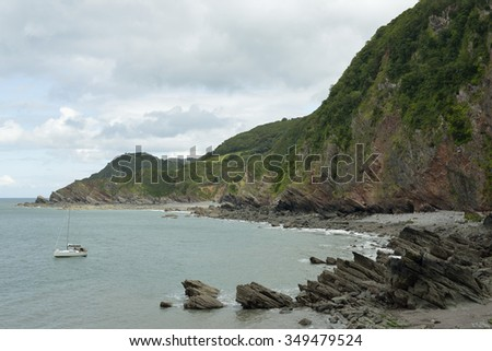 Woody Bay & Crock Point, North Devon Coast - stock photo