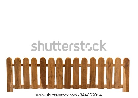 Woody fence isolate on white background. clipping path.