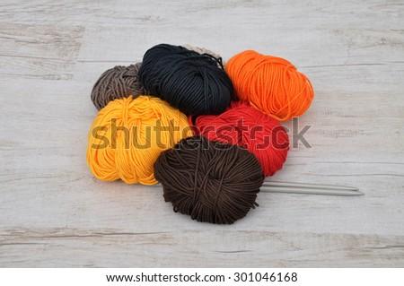 Wool and needles - stock photo