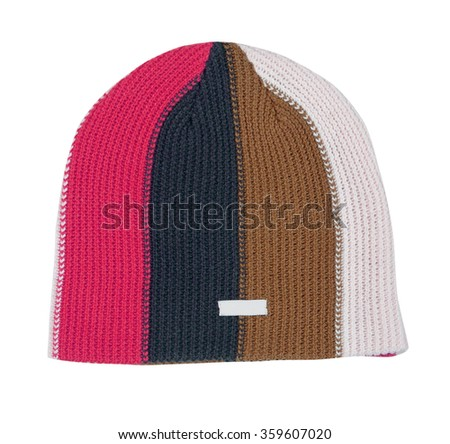 wool cap isolated on white background - stock photo