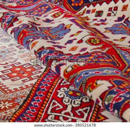 wool carpets, rugs - stock photo