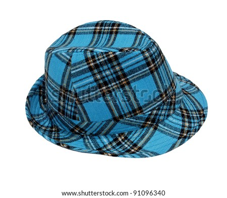 wool checked hat isolated on white background - stock photo