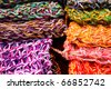 Wool fabrics, colors. Colombia. - stock photo