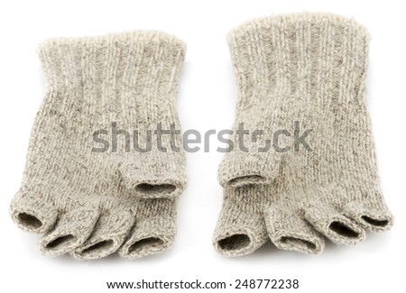 Wool fingerless gloves isolated on white background. - stock photo