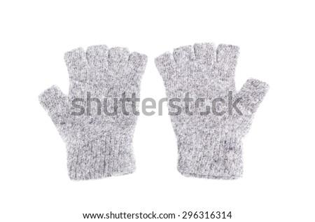 Wool fingerless gloves, isolated on white, Pair of Fingerless Gloves - stock photo