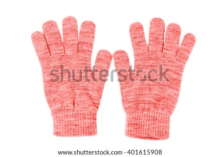 Wool gloves isolated on white - stock photo